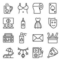 Pack of Party and Celebration Linear Icons vector