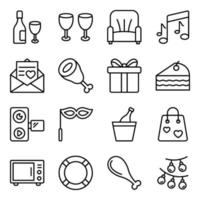 Pack of Party Linear Icons vector