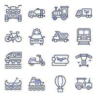 paquete de iconos planos de viaje y transporte vector