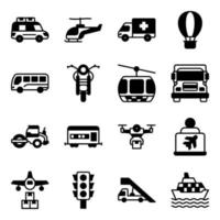 Pack of Automobile Solid Icons vector