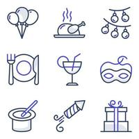 Pack of Party and Food Flat Icons vector