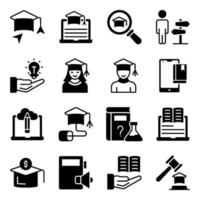 Pack of Study Solid Icons vector