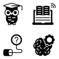 Pack of Education and Learning Solid Icons vector