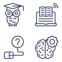 Pack of Education and Learning Flat Icons vector