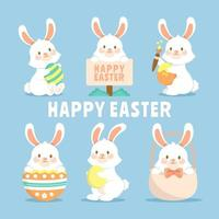 Fluffy Bunny in Various Adorable Pose vector