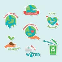 Earth Day Awareness Sticker Collection vector