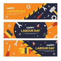 Flat Labor Day Banner Template vector