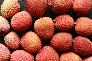 Many lychees for food background photo