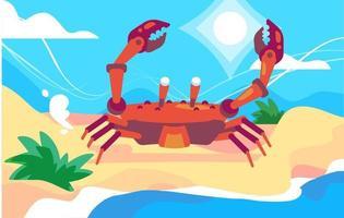 playa de cangrejo de verano vector