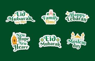 etiqueta engomada de eid mubarak vector