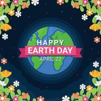 Earth Day Concept With Flower Borders vector