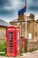 Red telephone box, post box, and the Union flag in the United Kingdom photo