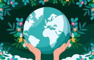 Earth Day Background with Floral Ornament vector