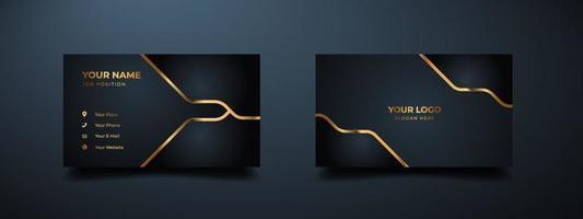 Diseño de plantilla de impresión de tarjeta de visita de lujo moderno. inspiración de lo abstracto. tarjeta de contacto para empresa. diseño dorado de dos caras. plantilla de impresión de ilustración vectorial. vector