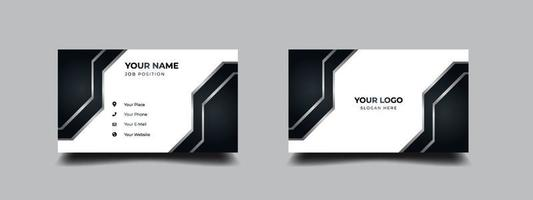 Futuristic black and white business card. Luxury and elegant  with silver metallic design. Vector illustration print template.