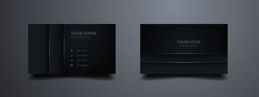 Luxury business card with realistic shape. Dark gradient abstract background. Vector illustration ready to print.