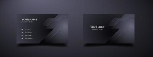 Futuristic business card design template. Modern shape with abstract silver. Luxury dark gradient background. Vector illustration ready to print.