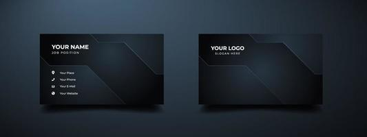 Business card design template with modern shape. Dark gradient abstract background. Vector illustration ready to print.