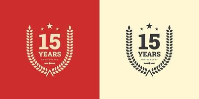 15 years anniversary logo template celebration with vintage classic concept. Vector Template Design Illustration.
