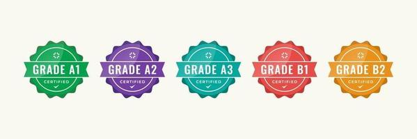 diseño de logotipo de insignia certificado para los certificados de insignia de capacitación de la empresa para determinar en función de criterios. conjunto de paquete certificar plantilla colorida de ilustración vectorial. vector