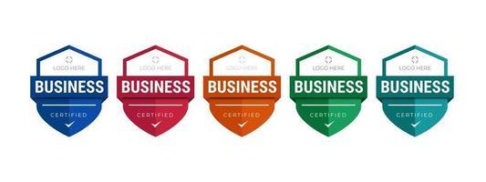 conjunto de certificados de insignia de capacitación de la empresa para determinar en función de criterios. ilustración vectorial plantilla de diseño de logotipo certificado. vector