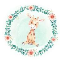 watercolor cute animal giraffe child vector illustration