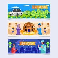 Festive Eid Al Fitr Banner Set vector