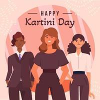 varias mujeres de negocios de pie en el día de kartini vector