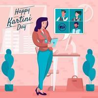 Leader Business Woman Held Virtual Meeting vector