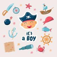 Pirate Theme Born Day Design vector