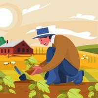Man Doing Organic Gardening Concept vector