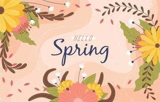 Hello spring decoration with flowers ornament vector