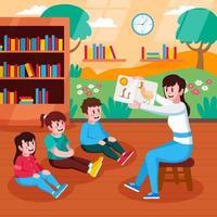 profesor y alumno leyendo libros en la biblioteca. vector