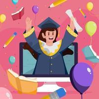 Women Celebrate Her Graduation Virtually Concept vector