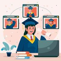 Graduation Online with Friends vector
