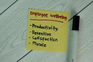 Employee wellbeing written on notepad isolated on wooden table