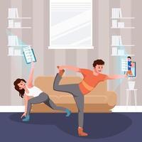 hombre y mujer, ejercicio, en casa, concepto vector
