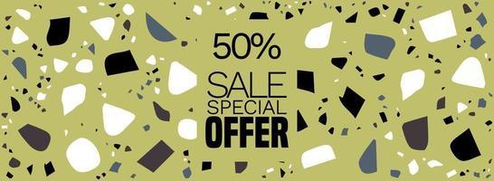 oferta especial, banner de mega venta, fondo de terrazo: fondo abstracto de patrón de baldosas de terrazo vector gratuito