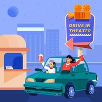 Young Couple On A Drive In Movie Concept vector