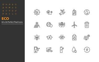 set of eco thin line icons vector