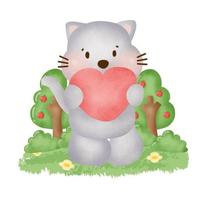 water color cute grey cat in the garden. vector