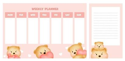 weekly planner with cute watercolor teddy bear. vector