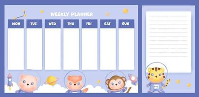 weekly planner with cute watercolor animals in the galaxy. vector