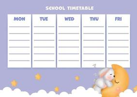 School time table with cute watercolor rabbit. vector