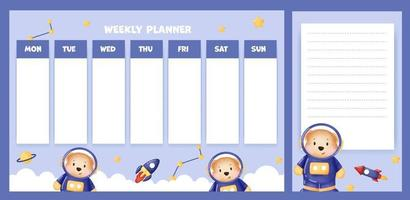 weekly planner with cute watercolor bear in the galaxy vector