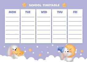 school timetable with cute watercolor rabbits. vector