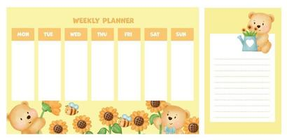 weekly planner with cute watercolor bear in sunflower field. vector