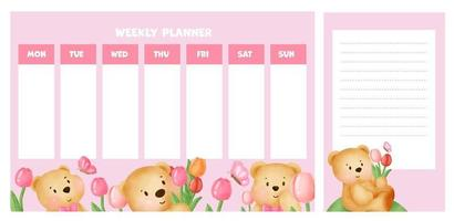weekly planner with cute watercolor bear in tulips field. vector