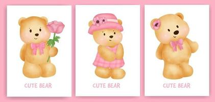 Cute teddy bear holding a flower card set in watercolor style. vector