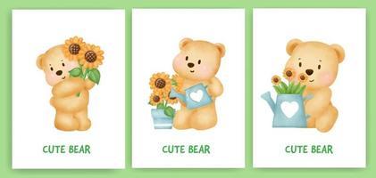 Tarjeta de felicitación linda del oso de peluche en estilo acuarela. vector